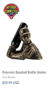 Wine bottle holder in the shape of a baseball player