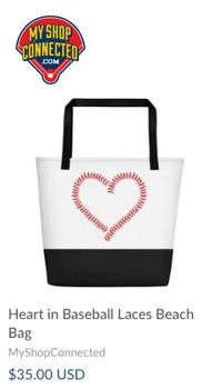 beach bag with baseball laces in the shop of a heart