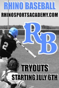 Rhino baseball tryouts ages 7u to 18u