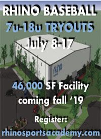 Rhino Baseball Tryouts 7u to 18u July 2019