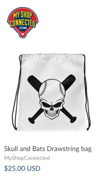Drawstring bag with skull and bats on the cover