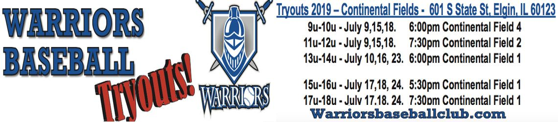 Warrior Baseball Youth Tryouts