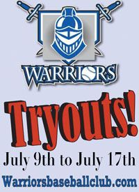 Warriors baseball tryouts 9u to 17u
